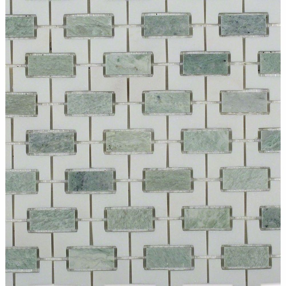Rorschack Ming Green and Thassos Polished Marble Floor and Wall Tile