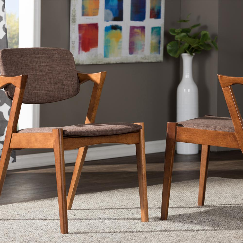 Elegant Brown Fabric Dining Chair (Set of 2)
