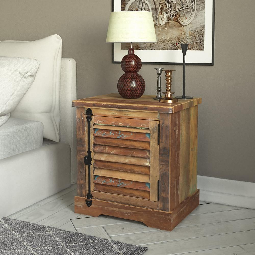 Yosemite Home Decor Naturally Distressed Storage End Table