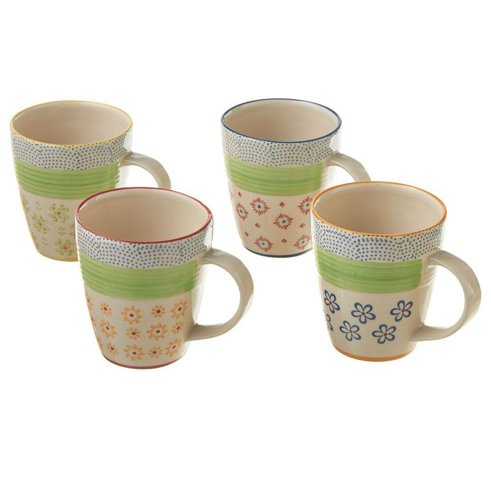 Filament Design Sundry Hand Painted 4-Piece Stoneware Multi Colored Mugs (Set of 4)-DISCONTINUED