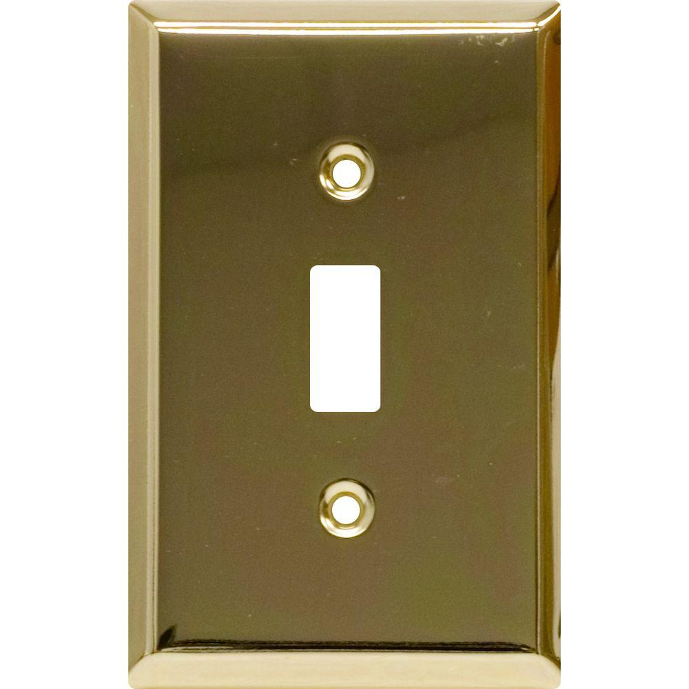 Power Gear 1 Toggle Switch Wall Plate, Faux Brass