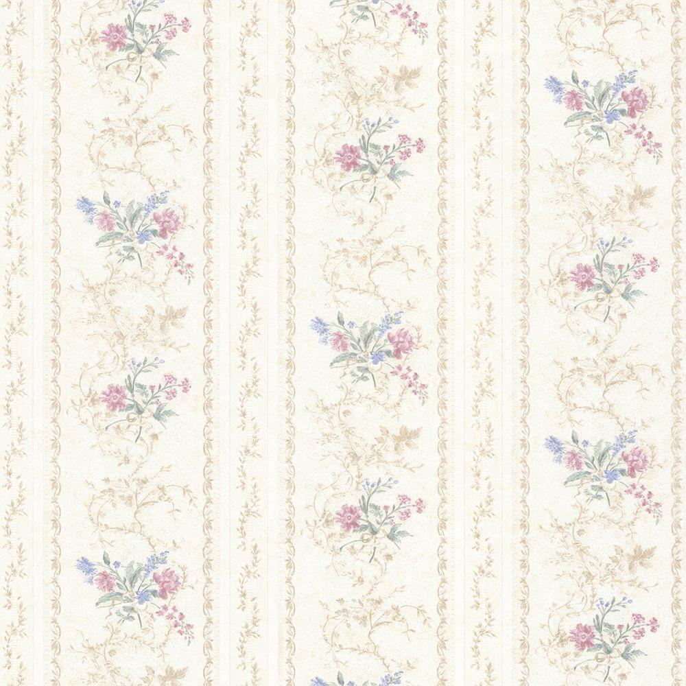 Mirage 56 sq. ft. Maury Pink Floral Bouquet Stripe Wallpaper-992-68335 -