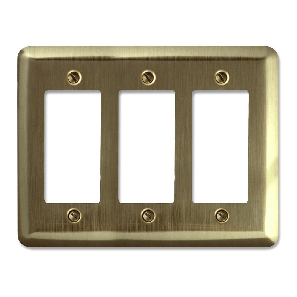 Steel 3 Decora Wall Plate - Brushed Brass