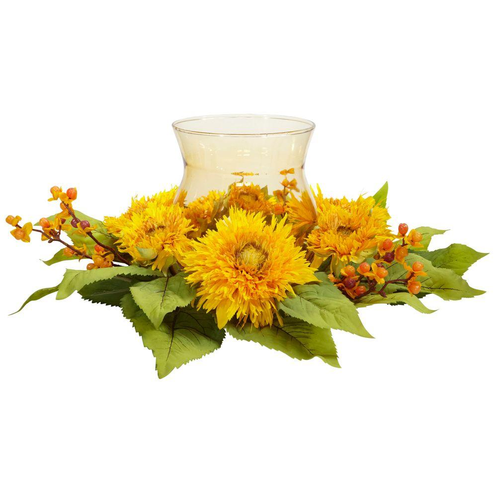 Nearly Natural 7.5 in. H Yellow Golden Sunflower Candleabrum Silk Flower