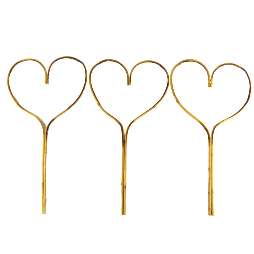24 in. Bamboo Heart Stake (3-Pack)