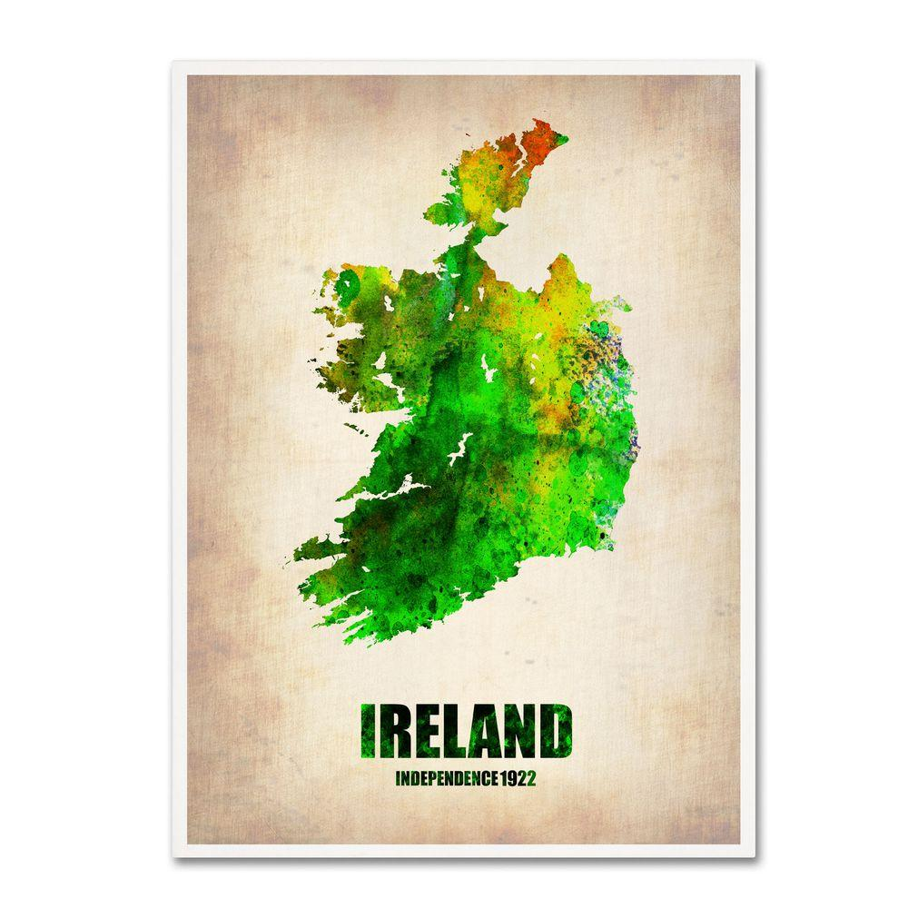 32 in. x 24 in. Ireland Watercolor Map Canvas Art