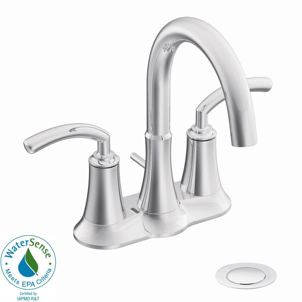MOEN Icon 4 in. 2-Handle High-Arc Bathroom Faucet with Drain Assembly in Chrome-DISCONTINUED