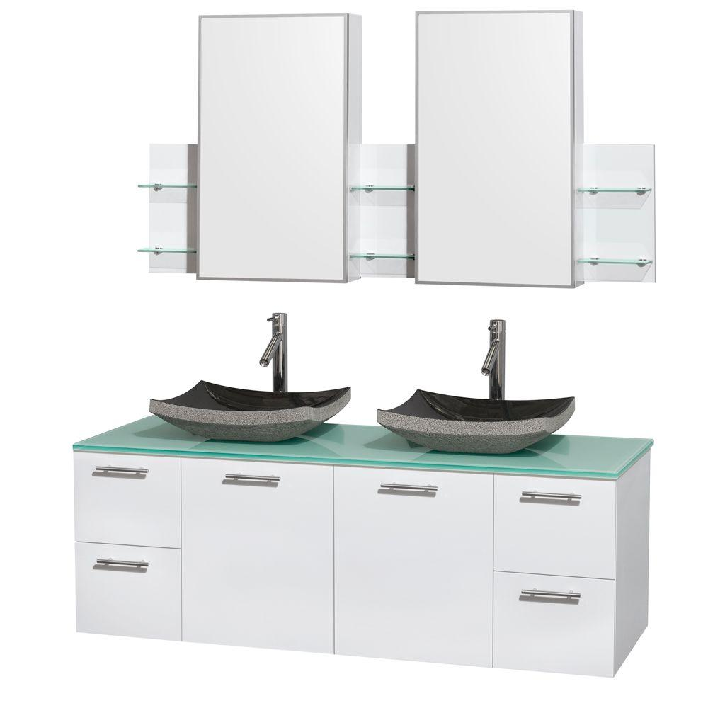 Amare 60 in. Double Vanity in Glossy White with Glass Vanity