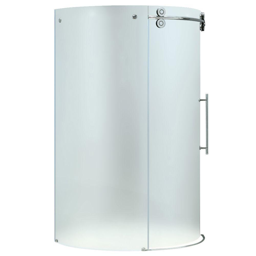 Vigo 40.625 in. x 40.625 in. x 74.625 in. Frameless Bypass Shower Enclosure in Chrome with Frosted Glass
