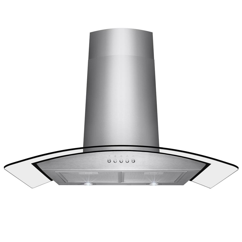 AKDY 36 in. Convertible Wall Mount Range Hood in Stainless Steel