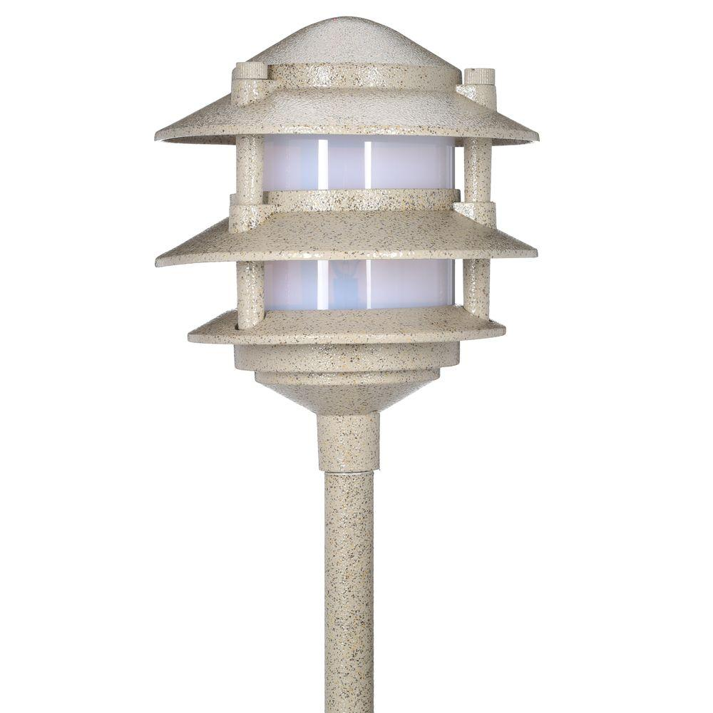 Hampton bay low voltage sand outdoor halogen 3 tier path for Outside path lights