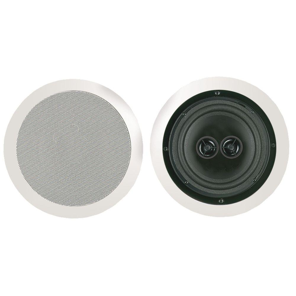 8 in. Dual Voice Coil Stereo Ceiling Speaker, White
