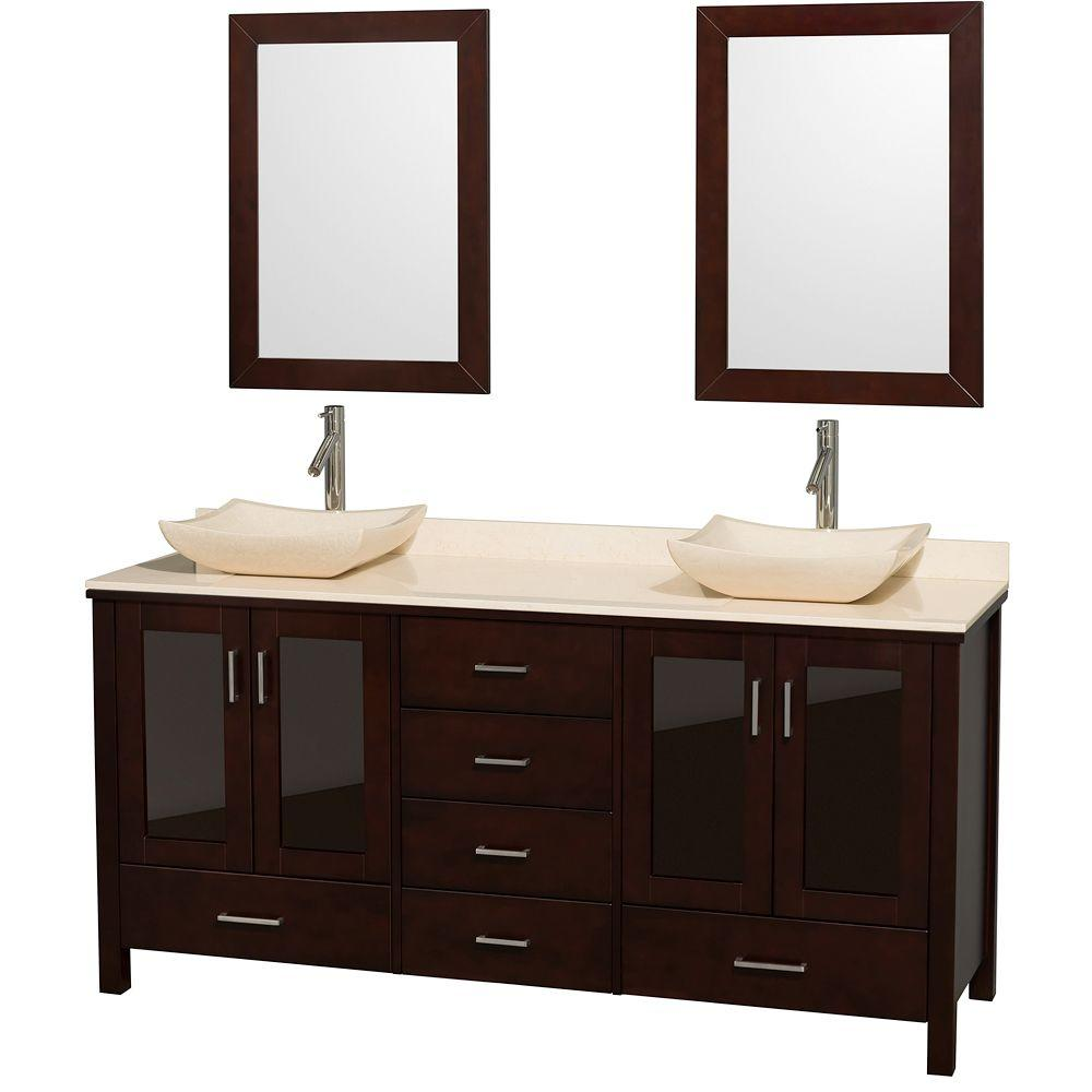 Wyndham Collection Lucy 72 in. Vanity in Espresso with Marble Vanity Top in Ivory with Ivory Marble Sinks and Mirrors