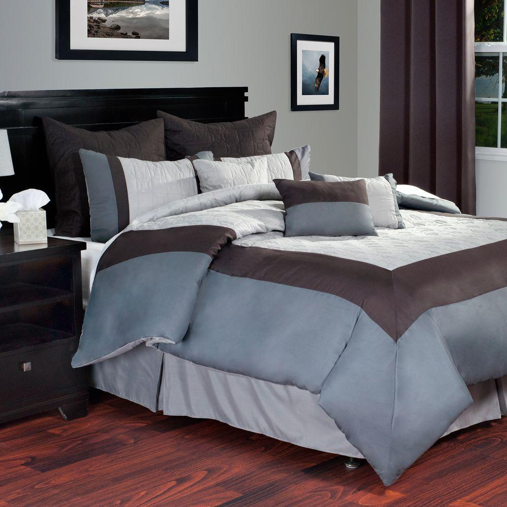 Lavish Home Hotel Gray 9-Piece Queen Comforter Set-66-0014-Q-G - The Home