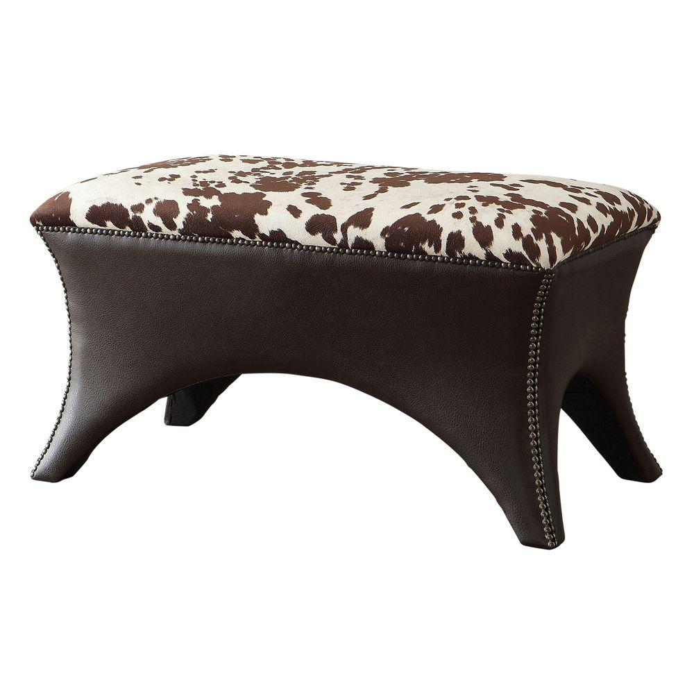 Worldwide Homefurnishings Faux Cow Hide Fabric Bench with Stud Detail in Brown