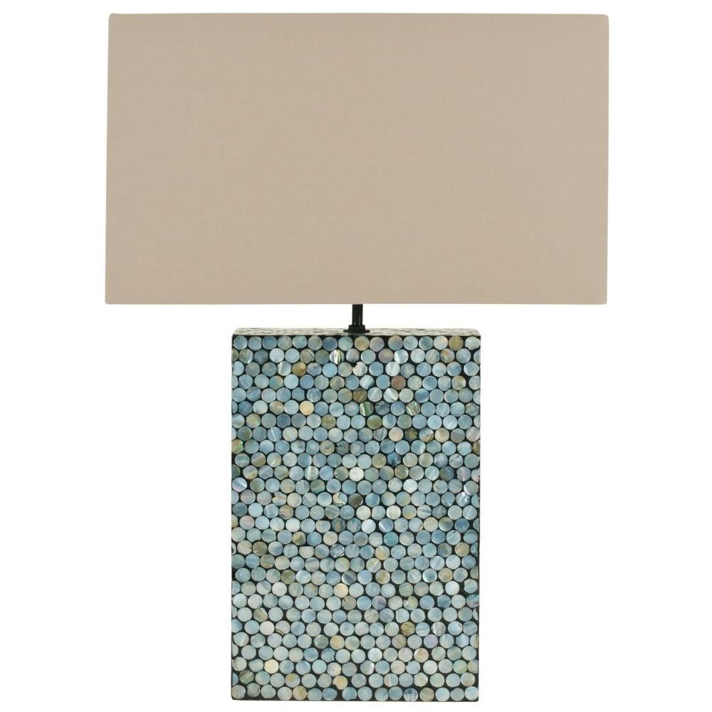 Safavieh Cassandra 16.5 in. Round Blue Mother of Pearl Table Lamp