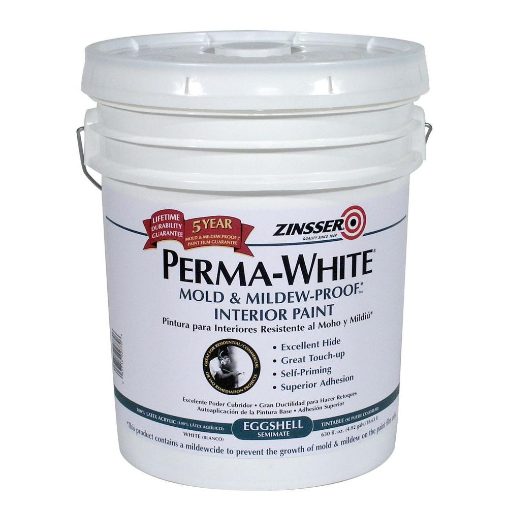 Zinsser 5 Gal Perma White Mold And Mildew Proof Eggshell Interior Paint 2770 The Home Depot