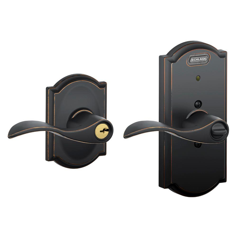 Schlage Camelot Collection Accent Aged Bronze Keyed Entry Lever with Built-In Alarm