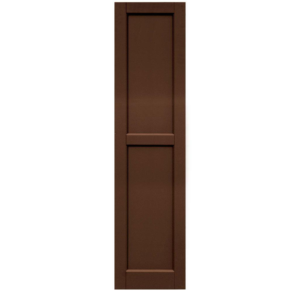 Winworks Wood Composite 15 in. x 61 in. Contemporary Flat Panel Shutters Pair #635 Federal Brown