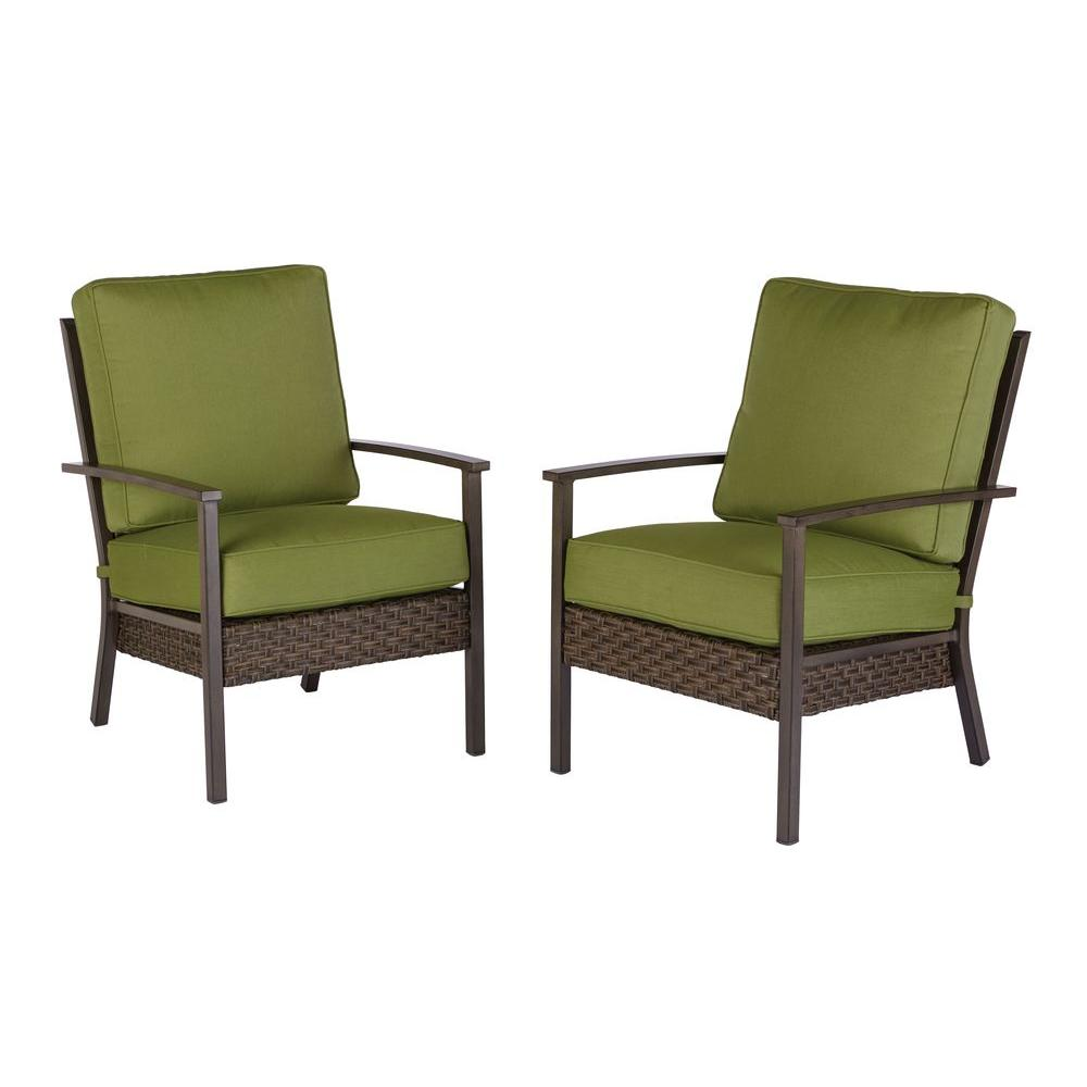 Hampton Bay Carol Stream 2 Piece All Weather Wicker Patio Lounge Chairs with