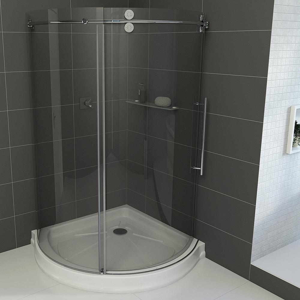 Vigo Sanibel 40.5 in. x 79.5 in. Frameless Bypass Shower Enclosure in Stainless Steel and Right Base