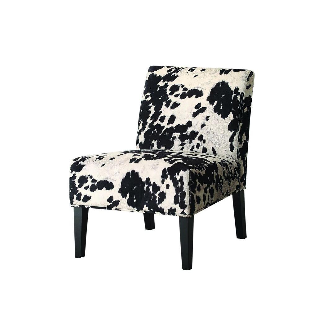 Worldwide Homefurnishings Faux Cow Hide Fabric Accent Chair in Black