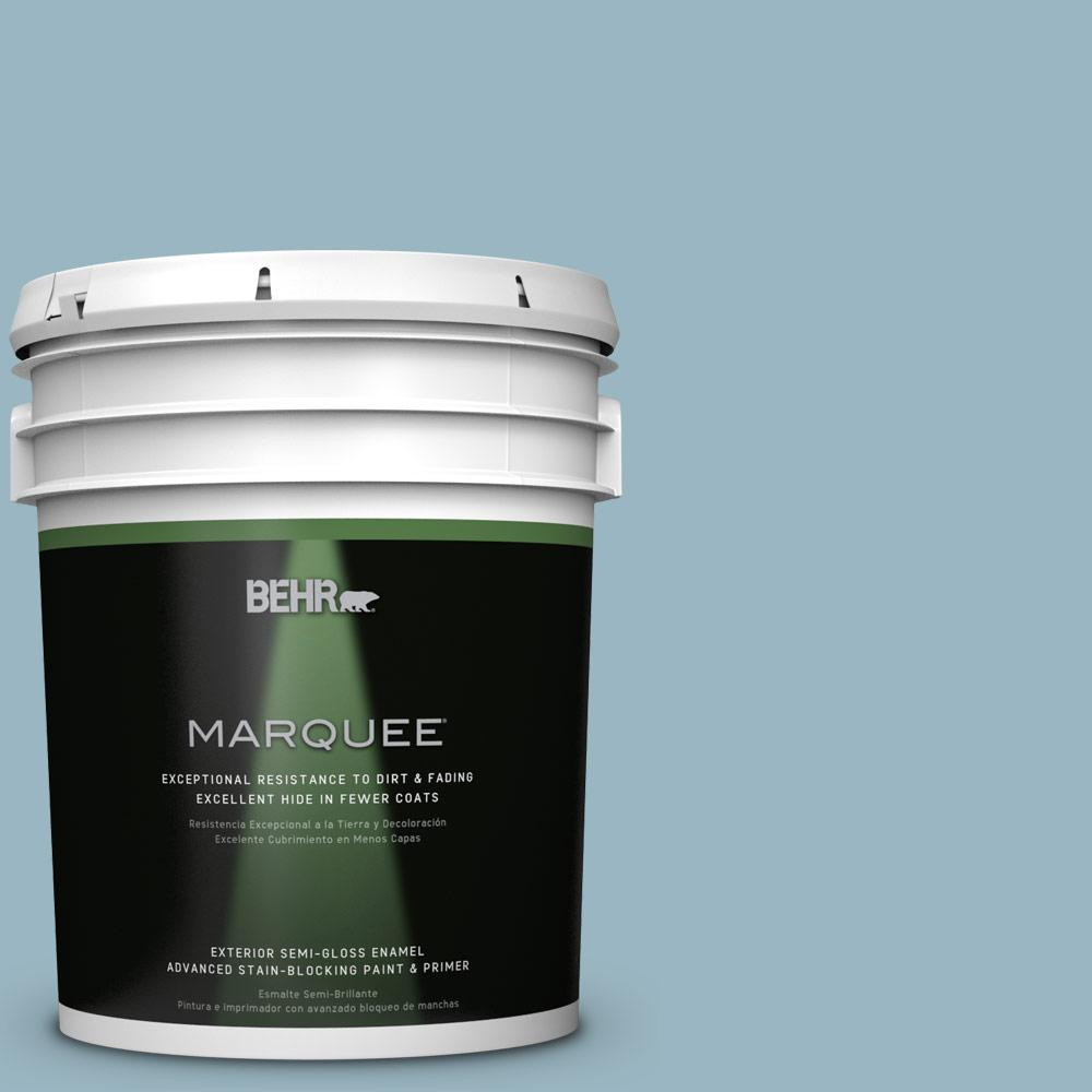 BEHR MARQUEE 5-gal. #S470-3 Peaceful Blue Semi-Gloss Enamel Exterior Paint
