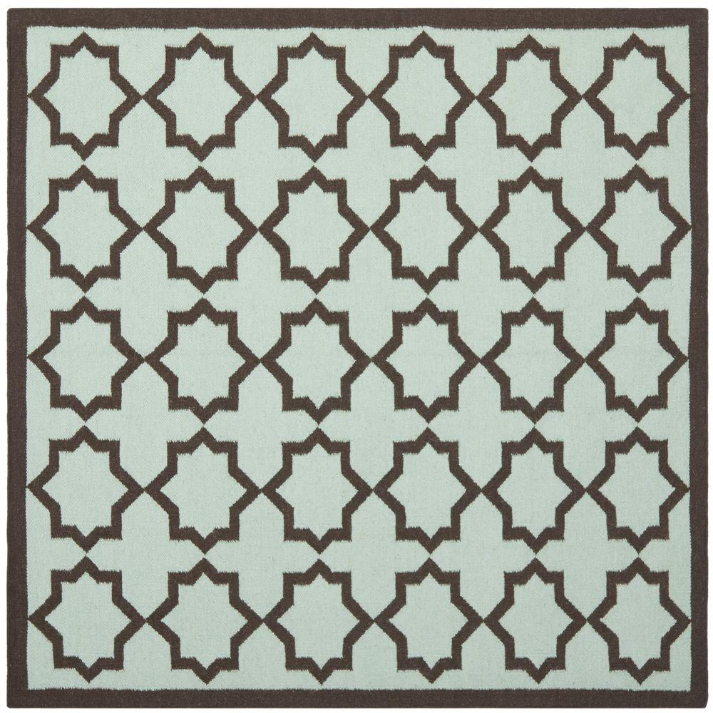 Dhurries Light Blue 6 ft. x 6 ft. Square Area Rug