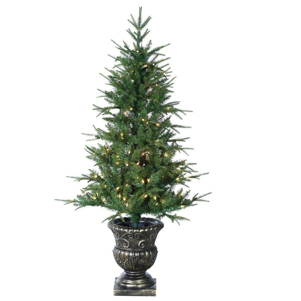 Sterling, Inc. Holiday Ornaments & Decor 4.5 ft. Pre-Lit Little Rock Fir Potted Natural Cut Artificial Christmas Tree with Clear Lights Greens 5543-45C