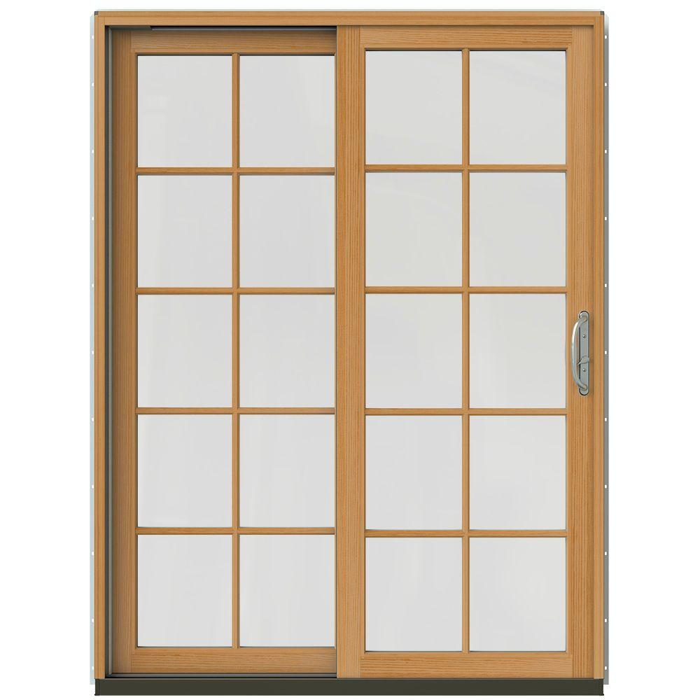 59-1/4 in. x 79-1/2 in. W-2500 Arctic Silver Prehung Left-Hand Clad-Wood Sliding Patio Door with 10-Lite Grids