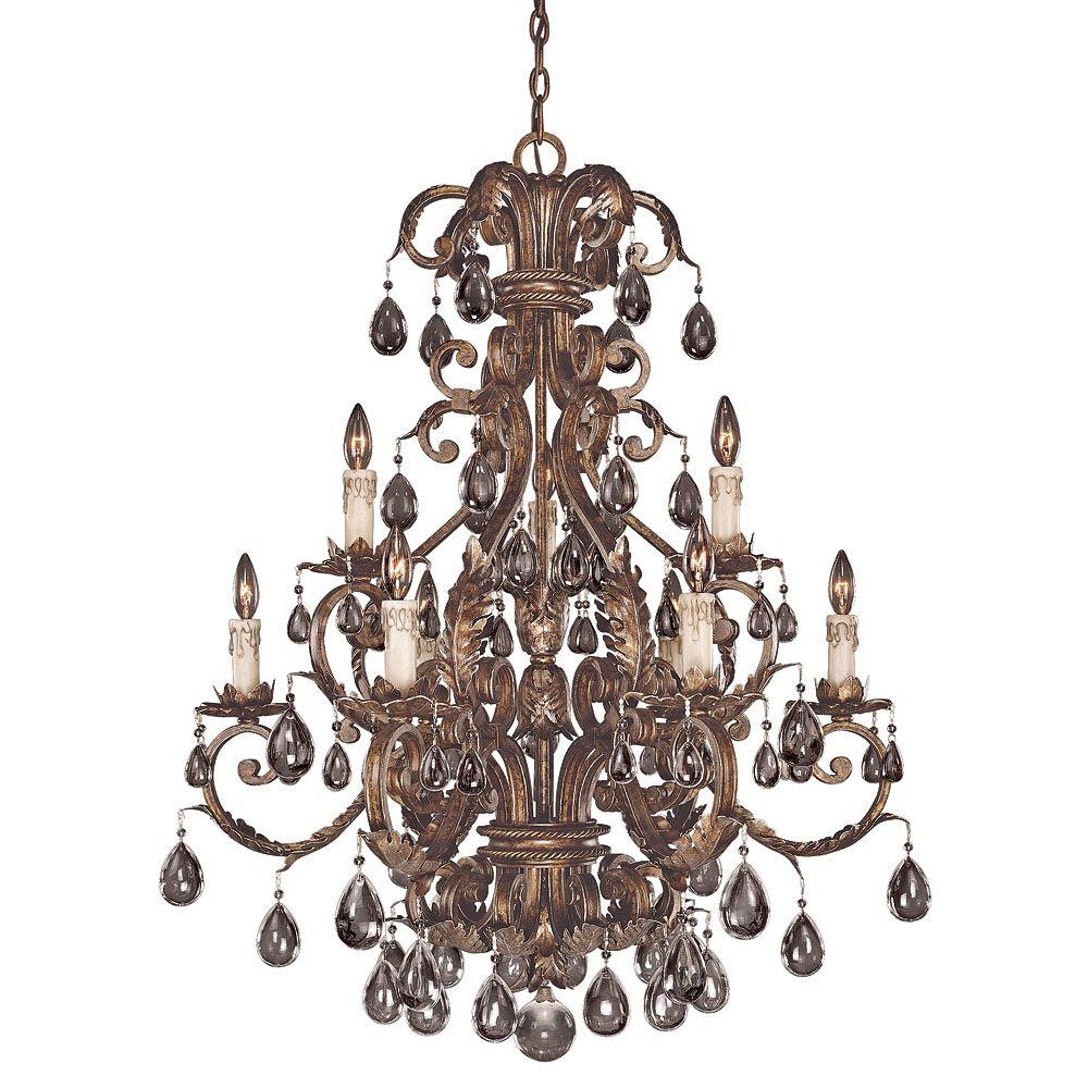 Illumine 9-Light New Tortoise Shell with Silver Chandelier with Clear Crystals