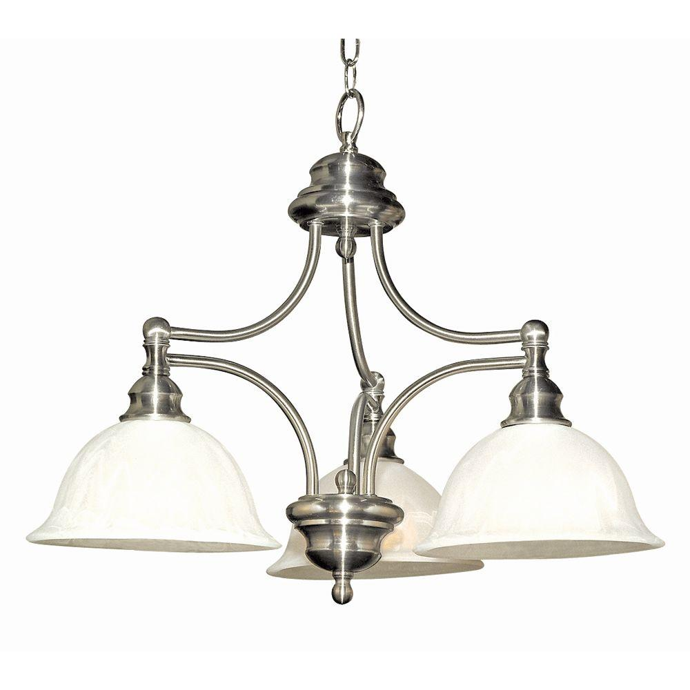 Yosemite Home Decor Broadleaf Collection 3-Light Satin Nickel Hanging Chandelier with Frosted Marble Glass Shade