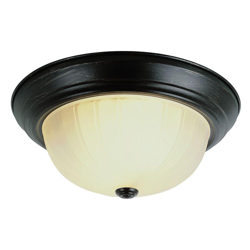 Stewart 2-Light Rubbed Oil Bronze Incandescent Ceiling Flushmount