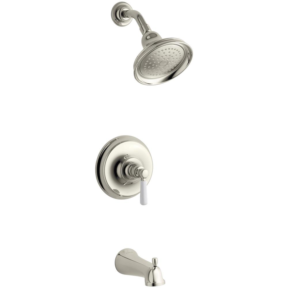 KOHLER Bancroft 1-Handle Rite-Temp Tub and Shower Faucet Trim Kit in Vibrant Polished Nickel (Valve Not Included)