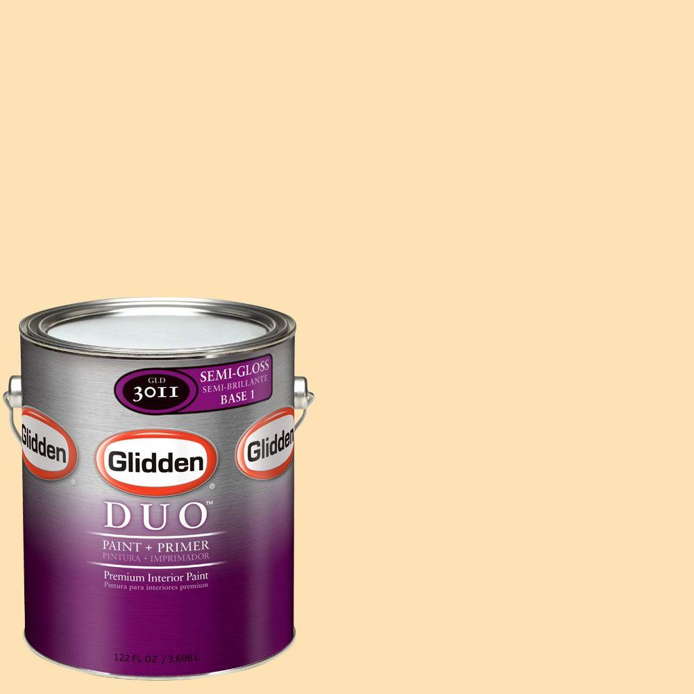Glidden DUO 1-gal. #GLO18 Pineapple Upside Down Cake Semi-Gloss Interior Paint with Primer