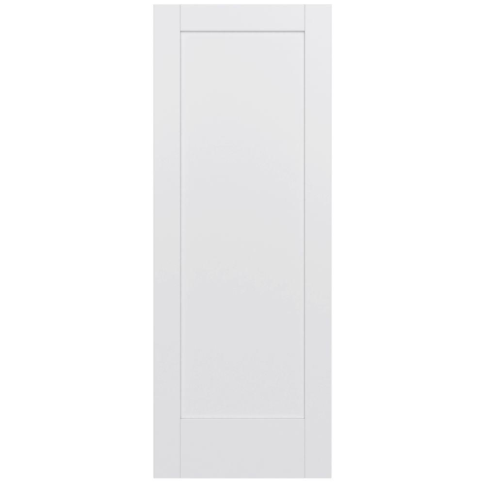 Jeld wen 32 in x 80 in moda primed white 1 panel solid core wood interior door slab for Solid wood interior doors home depot