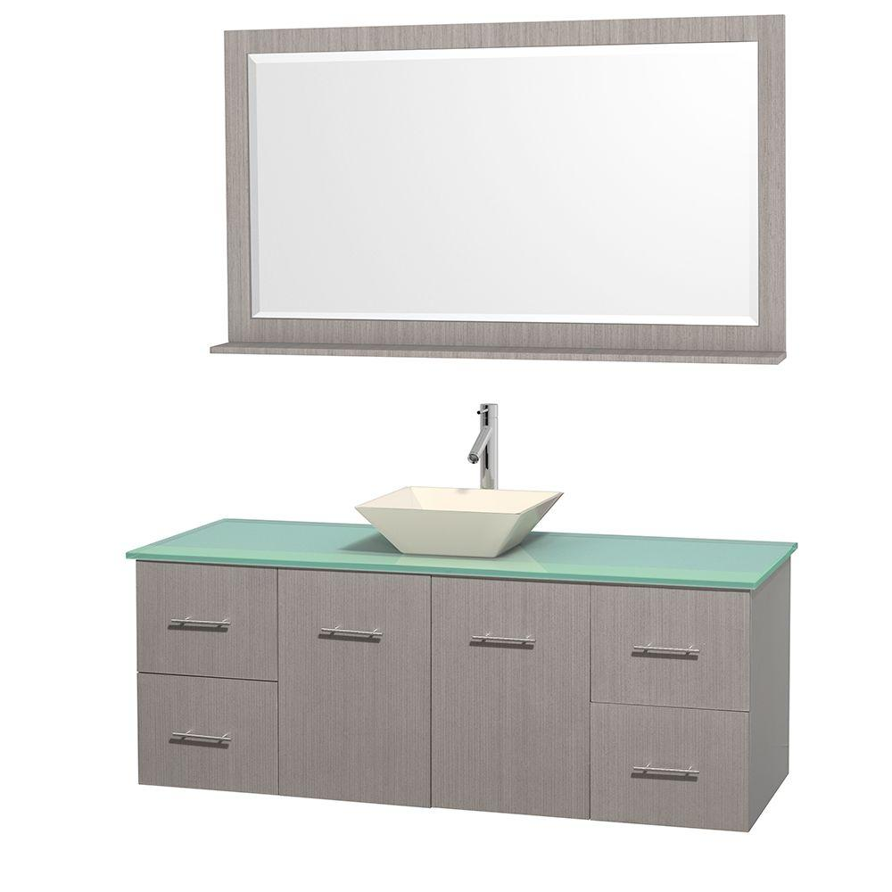 Wyndham Collection Centra 60 in. Vanity in Gray Oak with Glass