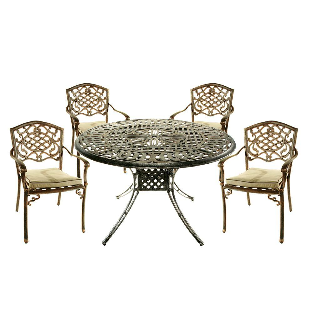 Oakland Living Capitol 5-Piece Patio Dining Set with Fully Welded Chairs and Cushions