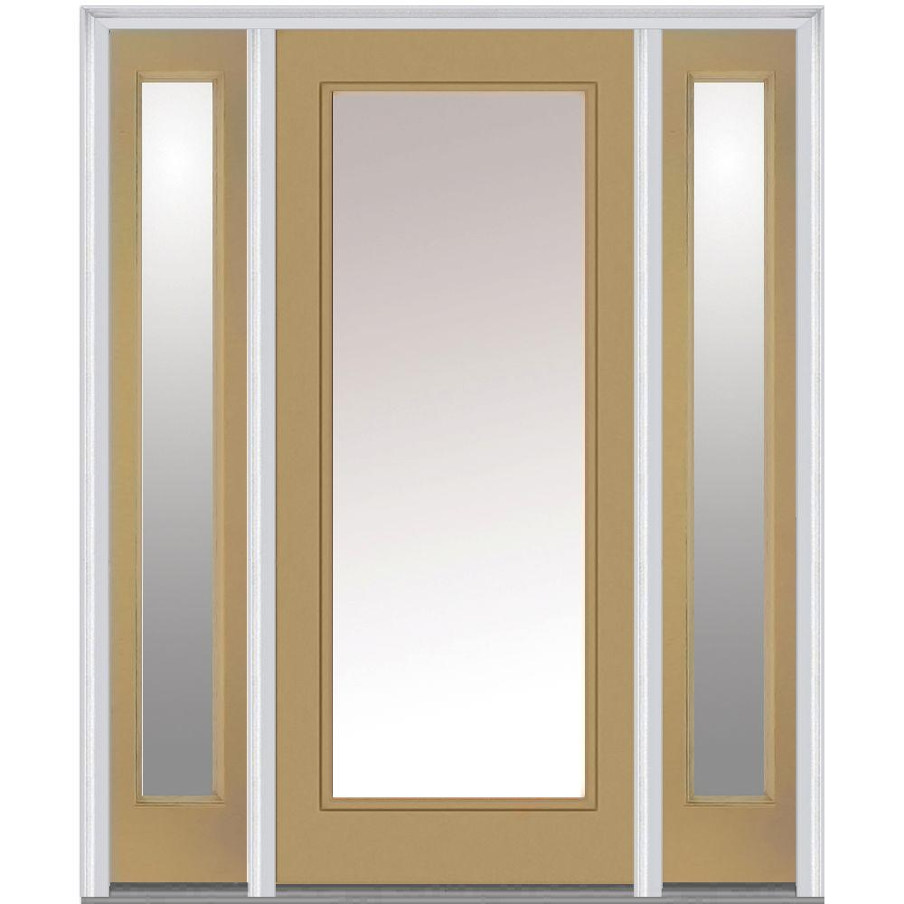 Milliken Millwork 64.5 in. x 81.75 in. Classic Clear Glass Full Lite Painted Fiberglass Smooth Exterior Door with Sidelites, Sandal