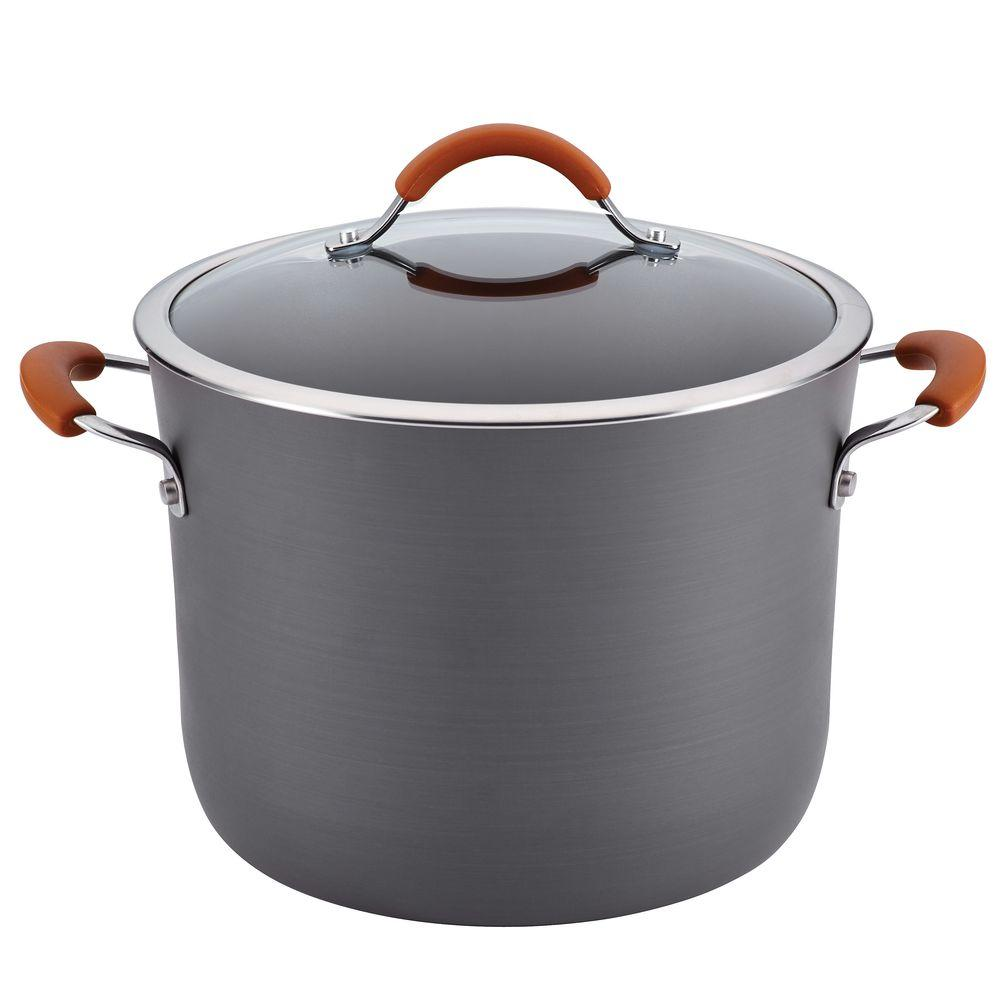 Rachael Ray Cucina Hard-Anodized Nonstick 10 qt. Covered Stockpot in Gray