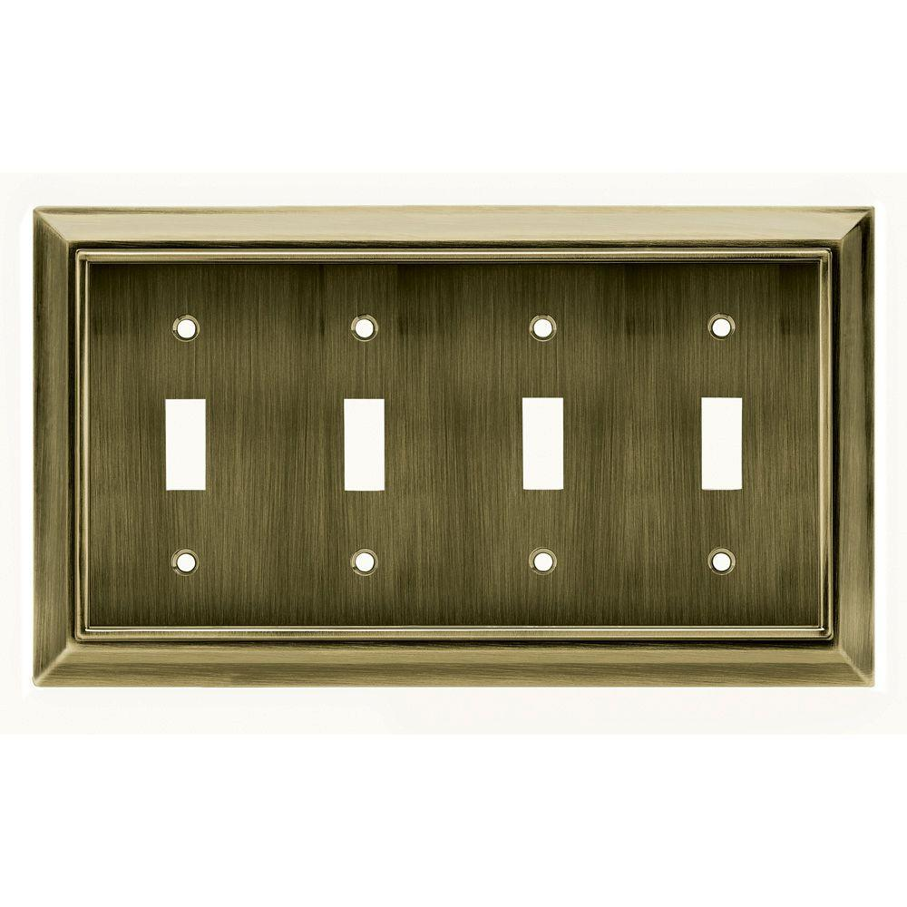 Liberty Architectural 4 Gang Switch Wall Plate - Antique Brass