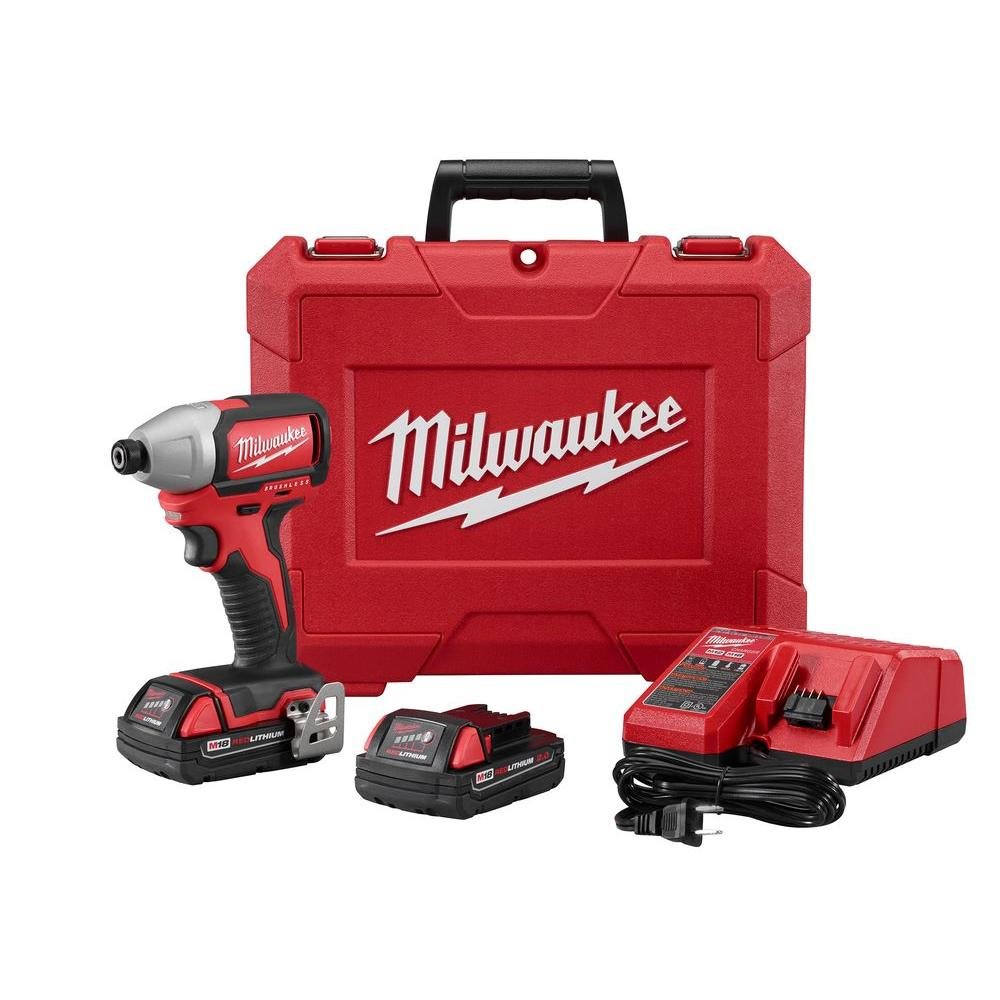 Milwaukee M18 18-Volt 1/4 in. Cordless Hex Brushless Impact Driver Kit