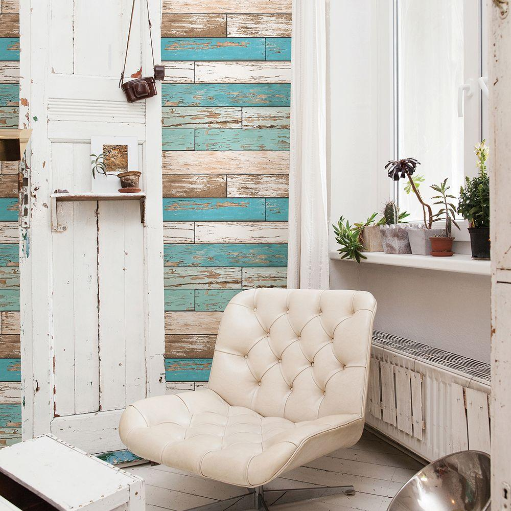 Turquoise Scrap Wood Weathered Texture Wallpaper