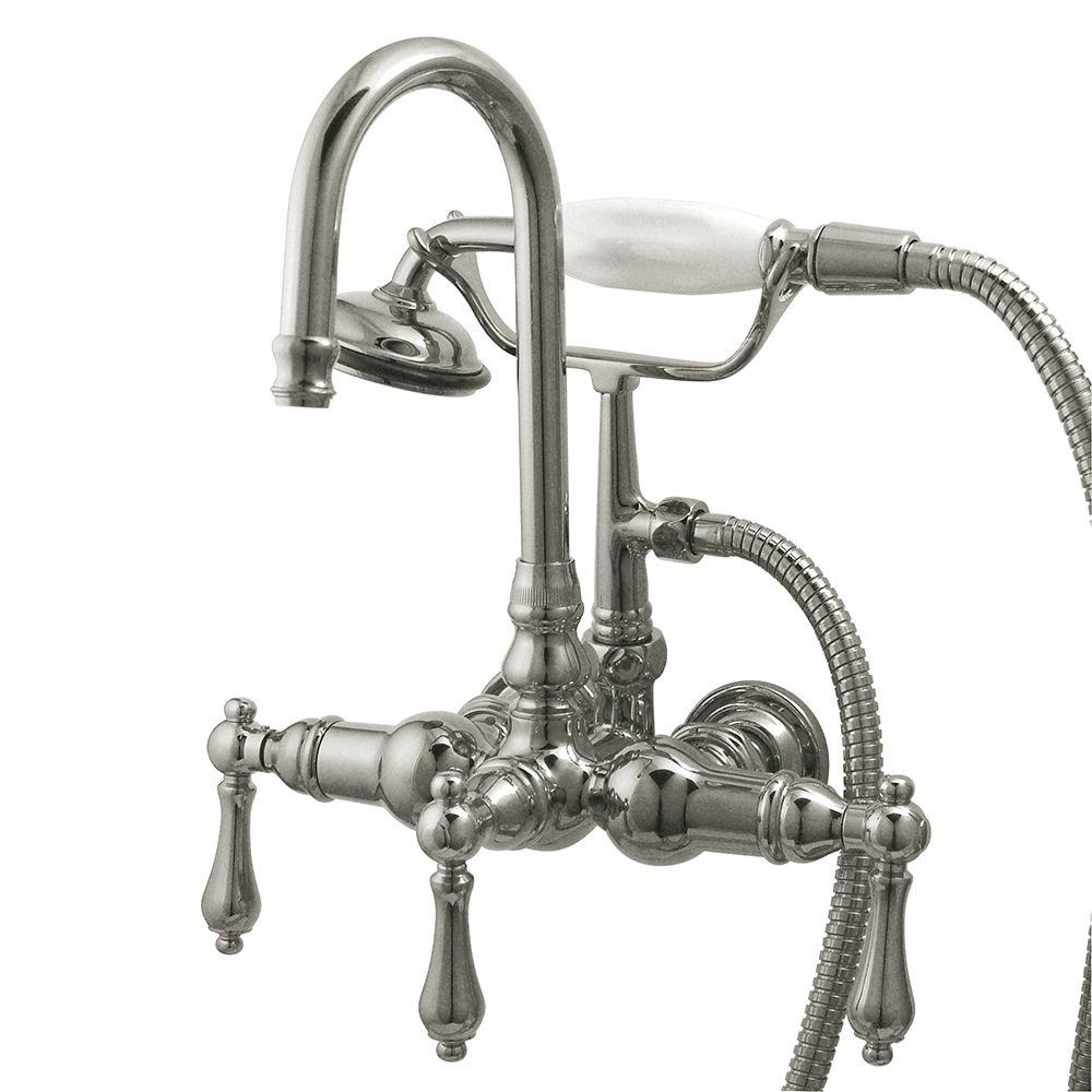 Kingston Brass 3-Handle Claw Foot Tub Faucet with Hand Shower in