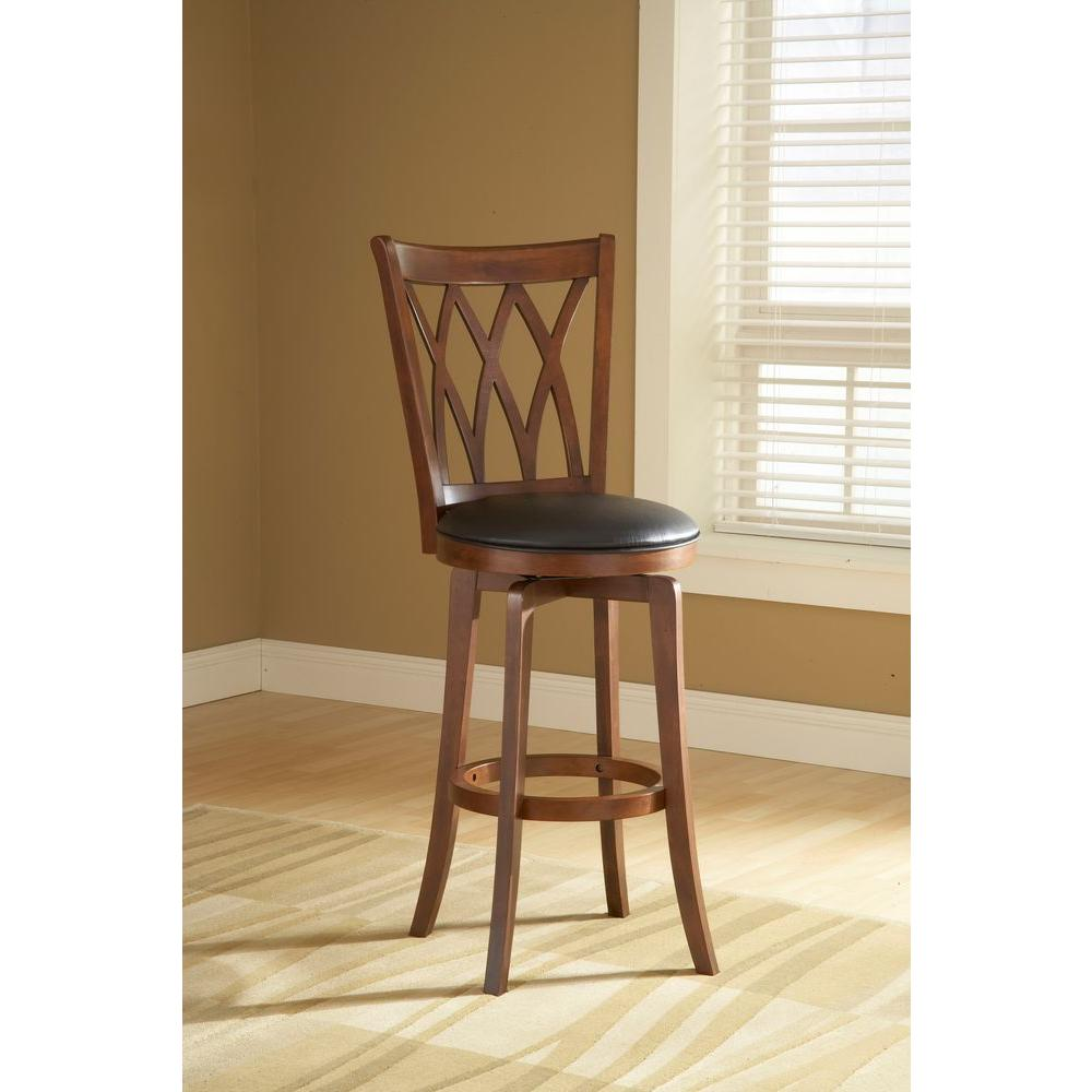 Hillsdale Furniture Mansfield 24 in. Brown Cherry Swivel Cushioned Bar Stool