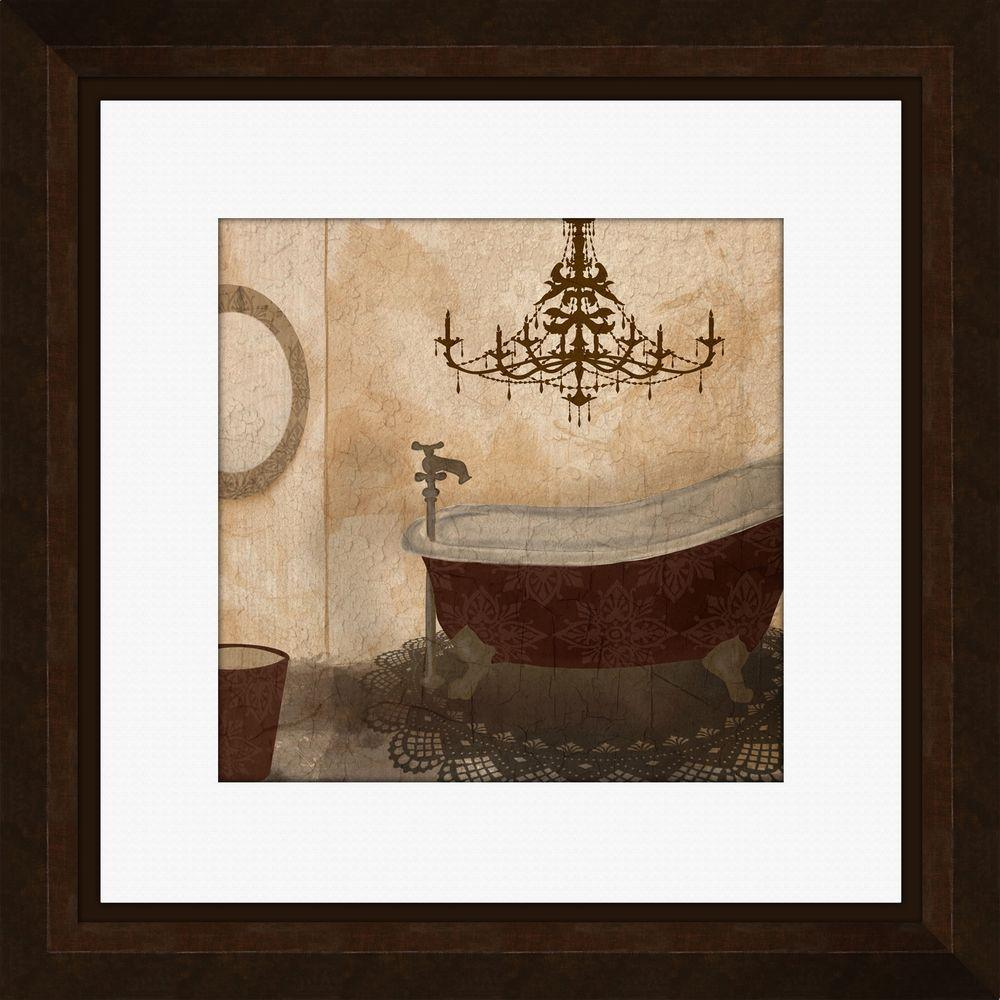 "PTM Images 21 -1/4 in. x 21 -1/4 in. ""Red Guest Bathroom B"" Framed Wall Art"
