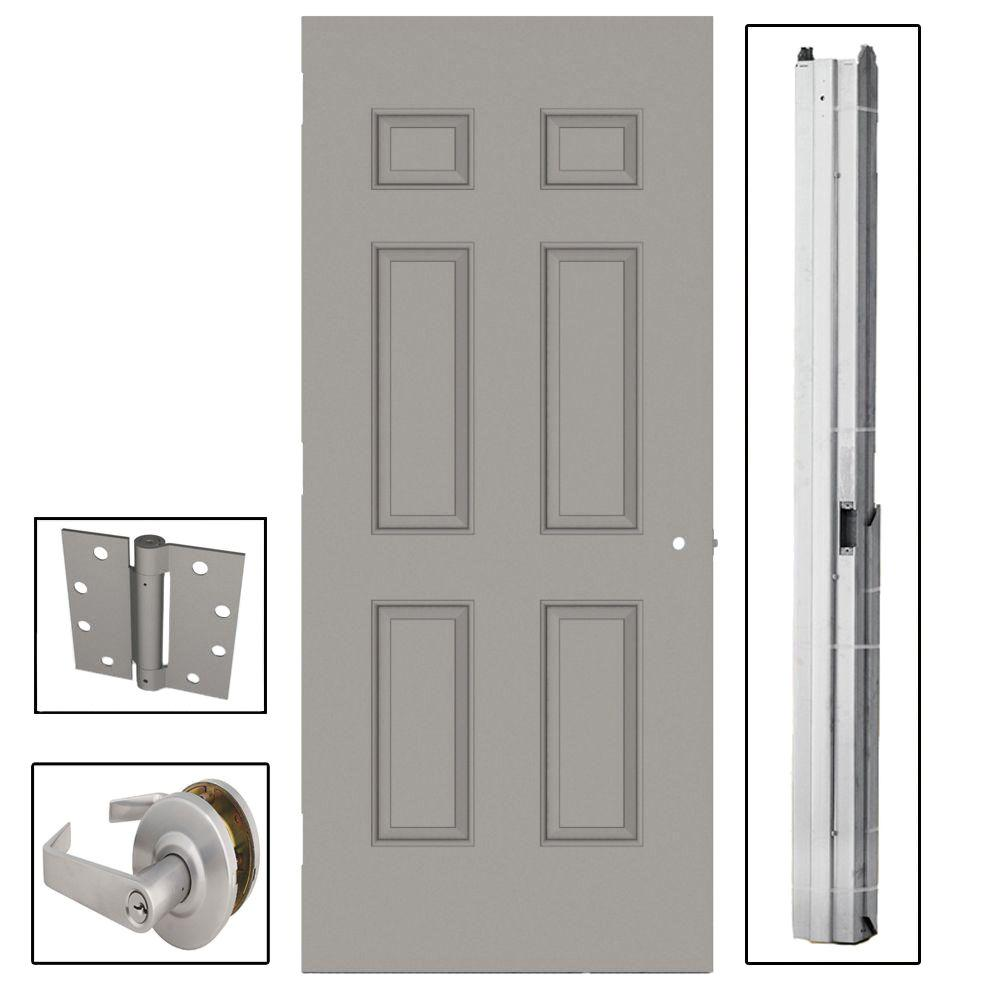 L.I.F Industries 36 in. x 84 in. 6-Panel Steel Gray Commercial Door with Hardware