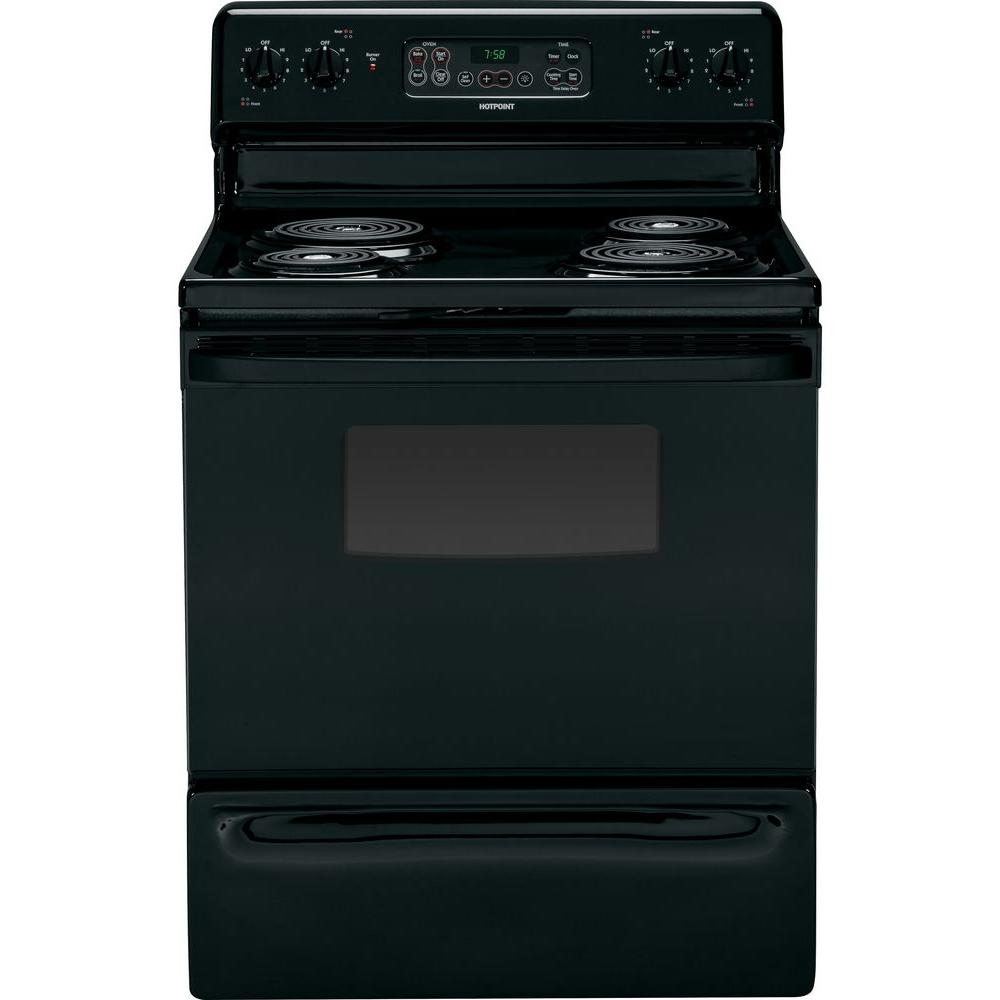 Hotpoint 5.0 cu. ft. Electric Range with Self-Cleaning Oven in Black