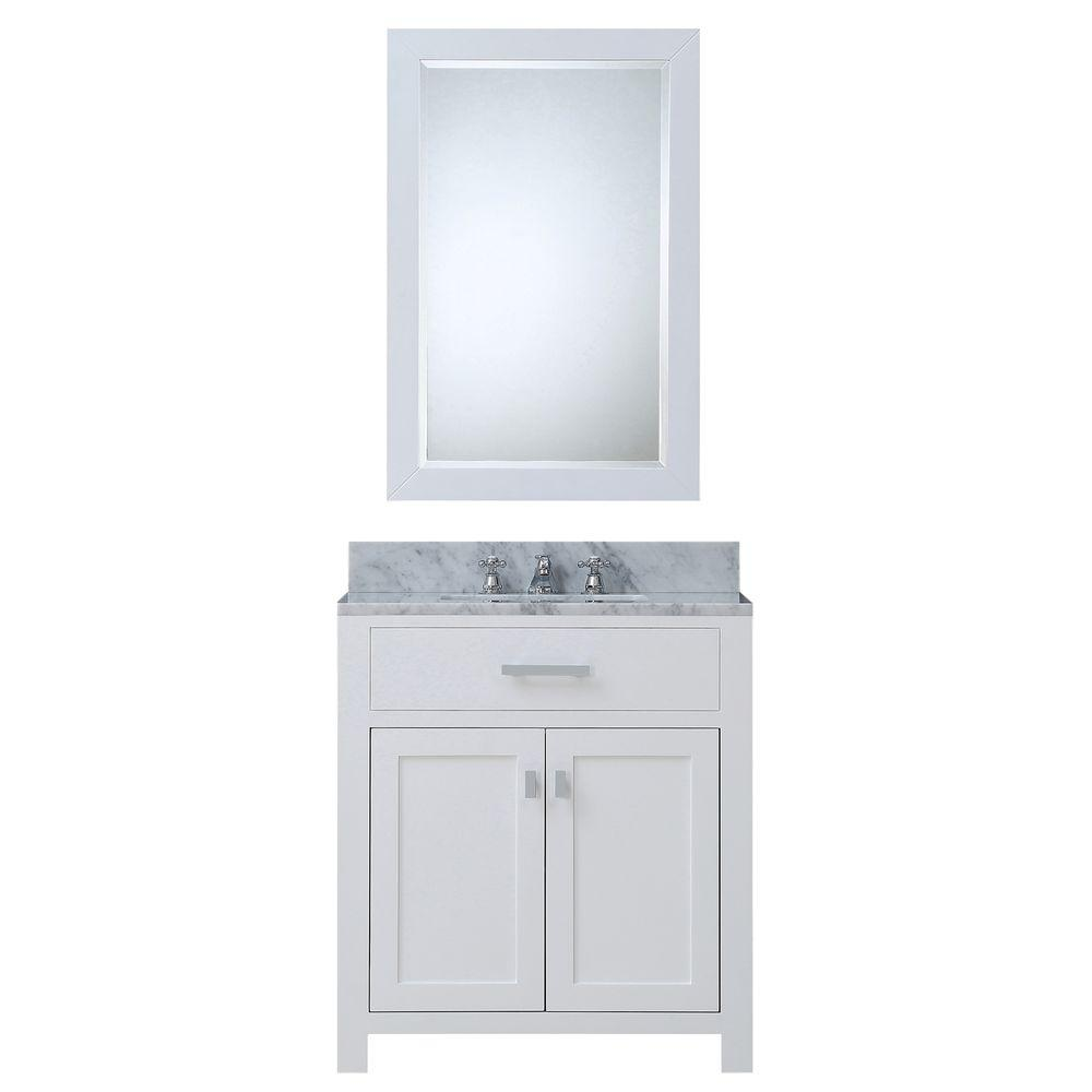 30 in. W x 21 in. D Vanity in White with