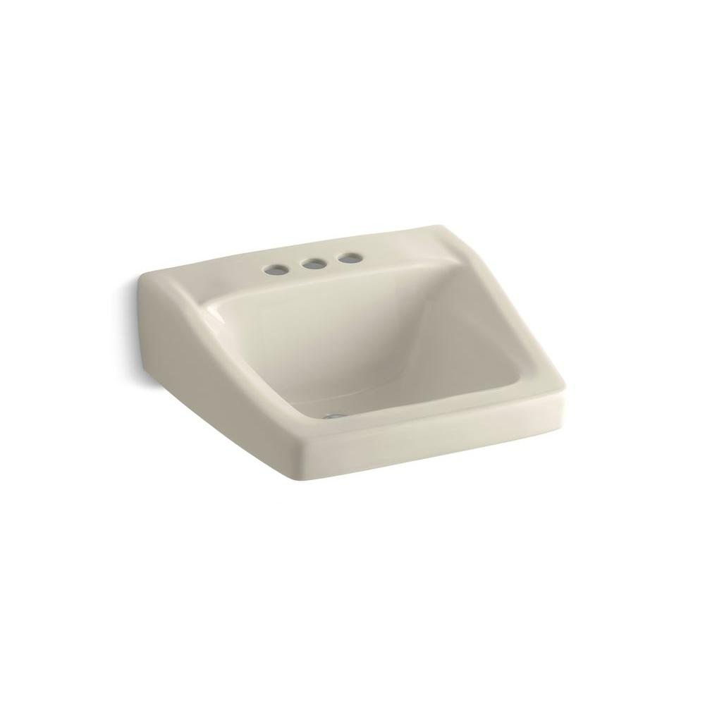KOHLER Chesapeake Wall-Mount Vitreous China Bathroom Sink in Almond with